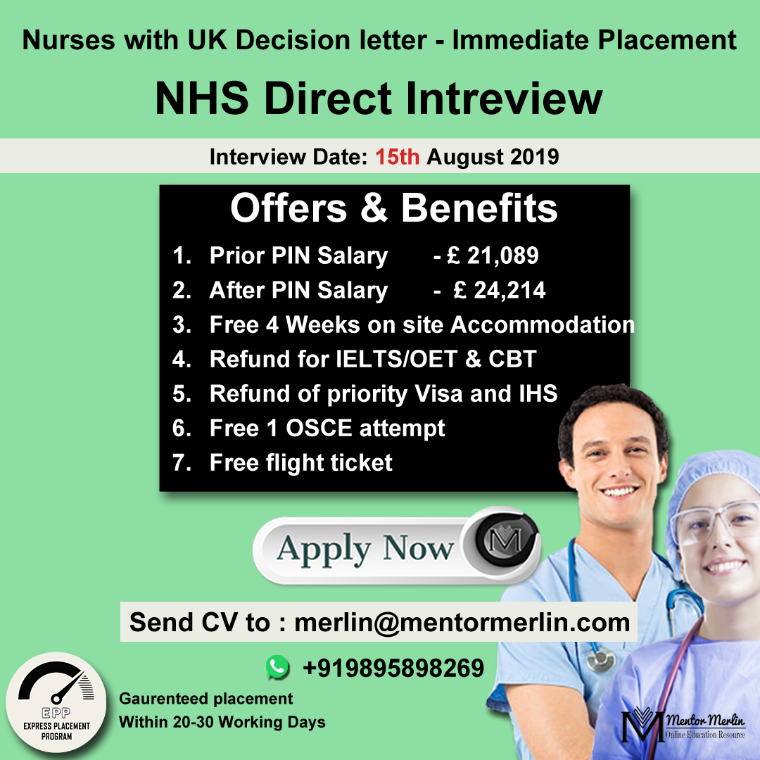 NHS Direct Interview – Immediate Placement